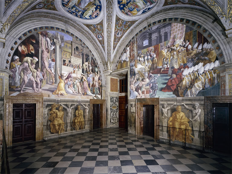 The Room of the Fire in the Borgo frescoed by Raphael in the Vatican Museums