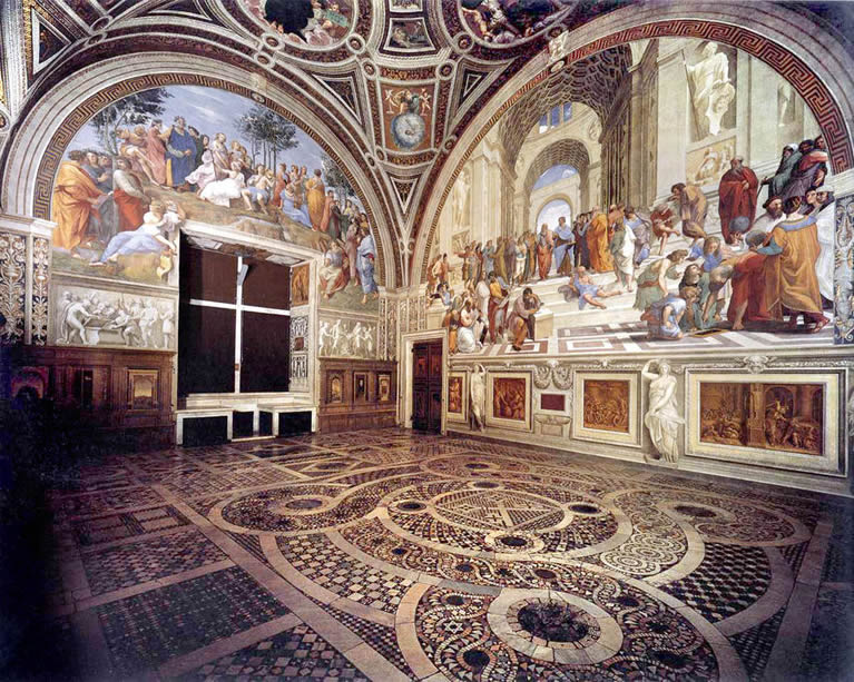 The room of the Segnatura frescoed by Raphael in the Vatican Museums
