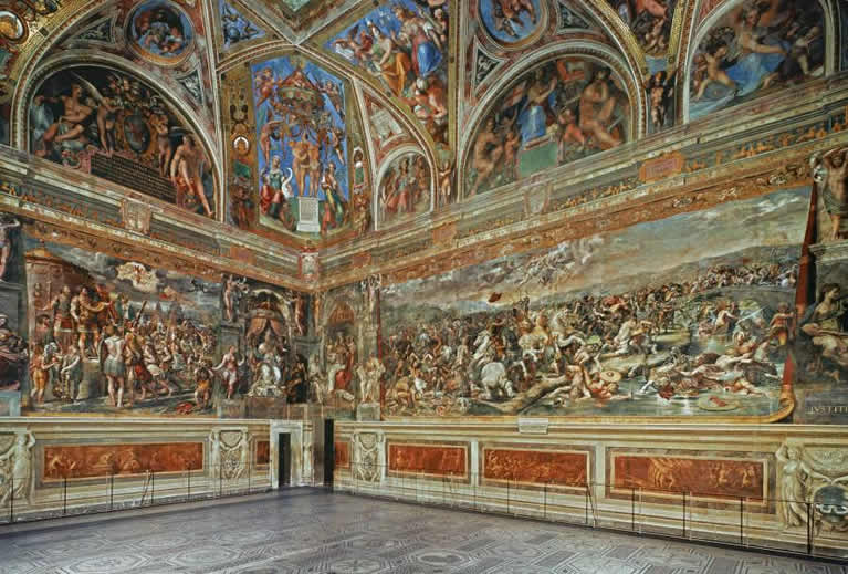 The Sala di Costantino frescoed by Raphael in the Vatican Museums