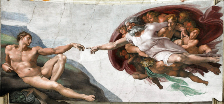 The Creation of Adam frescoed by Michelangelo in the Sistine Chapel in the Vatican Museums in Rome