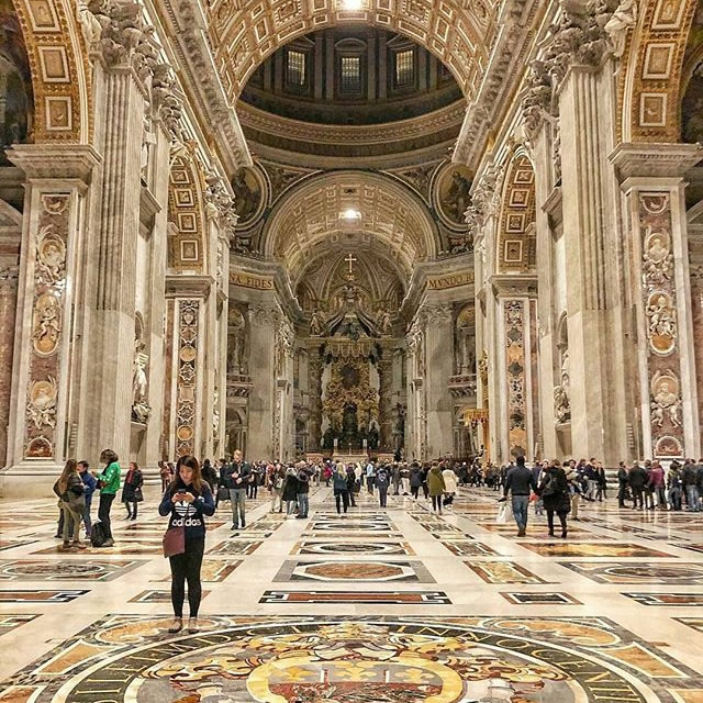 Inside the St. Peter's Basilica in Rome
