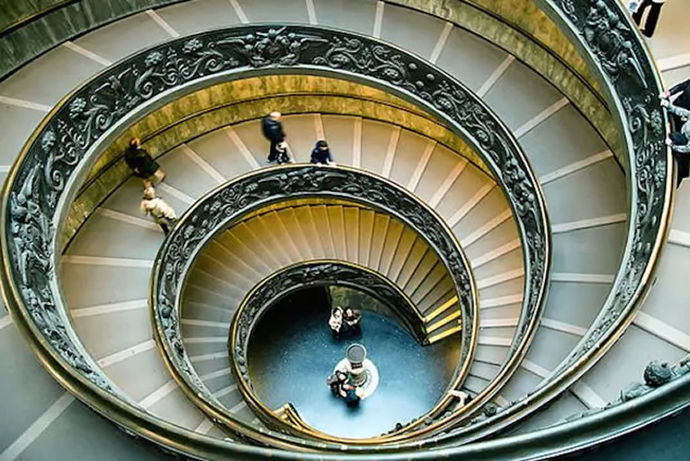 The double spiral helical spiral staircases in the Vatican Museums in Rome