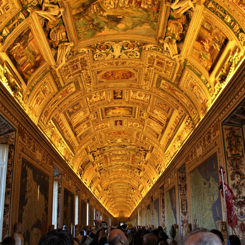 Interior of the Gallery of Geographic Maps in the Vatican Museums in Rome